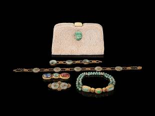 Six Chinese Hardstone Jewelry Articles