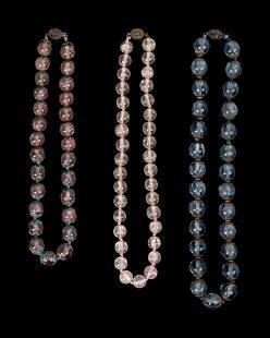 Three Chinese Quartz and Hardstone Beaded Necklaces