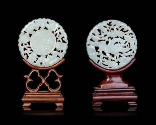 Two Chinese Pale Celadon Jade Mounted Table Screens