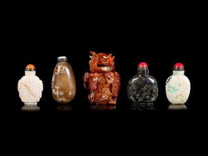 Five Chinese Hardstone Snuff Bottles