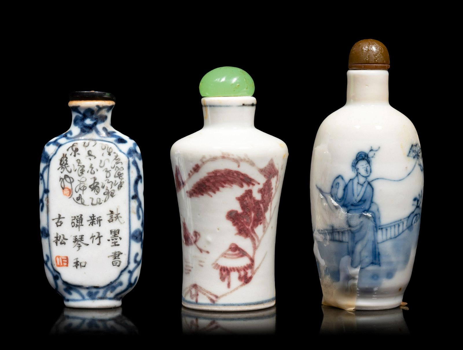 Three Chinese Porcelain Snuff Bottles