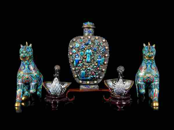 Four Chinese Enamel on Metal Articles