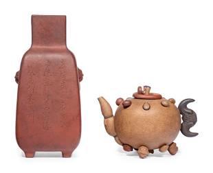 Two Yixing Zisha Pottery Wares