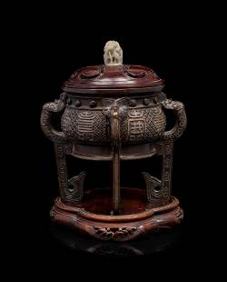 A Chinese Cast Bronze Incense Burner