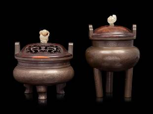 Two Chinese Silver Inlaid Bronze Tripod Incense Burners