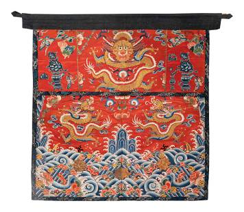 Two Chinese Embroidered Silk 'Dragon' Panels