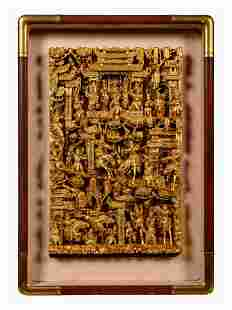 A Chinese Gilt Lacquered Carved Wood Panel