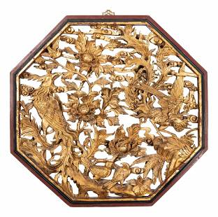 A Chinese Lacquered Carved Wood 'Flower and Bird' Panel