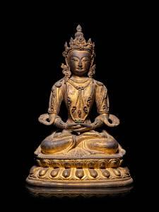 A Sino-Tibetan Gilt Bronze Figure of Amitayus