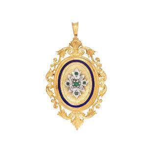 YELLOW GOLD, EMERALD AND DIAMOND PENDANT/BROOCH