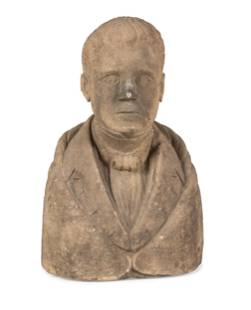 A Carved Stone Bust of a Gentleman