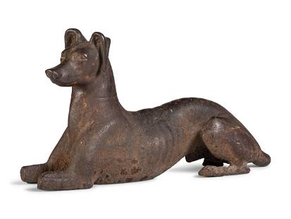 A Cast Iron Recumbent Whippet