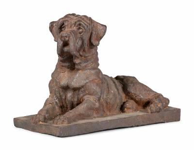 A Cast Iron Reclining Mastiff