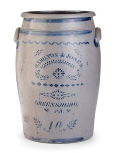 A Hamilton and Jones 10-Gallon Cobalt-Decorated