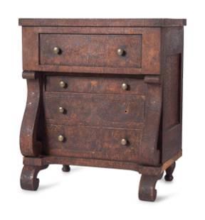 A Classical Veneered Walnut Diminutive Chest of Drawers