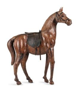 A Leather Horse Figure, In the manner of Abercrombie &