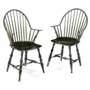 A Pair of Black-Painted Continuous Arm Windsor Chairs