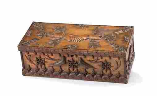 A Masonic Handshake and Bird Decorated Document Box
