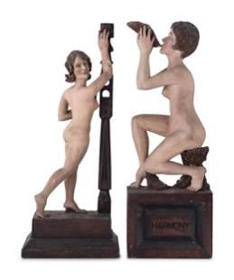 Two Painted Folk Art Carvings of Nude Women