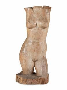 A Folk Art Carved Wood Figure of a Female Torso