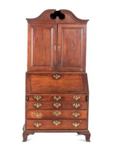 A Chippendale Carved and Paneled Mahogany Slant-Front