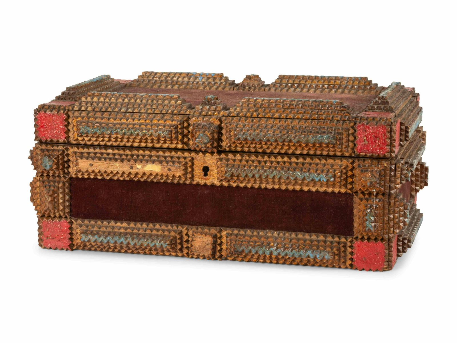 A Painted Wood and Velvet Tramp Art Box