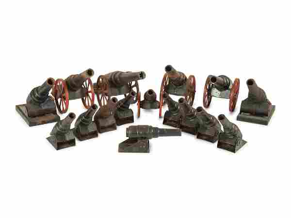 Sixteen Cast Iron Toy Cannons