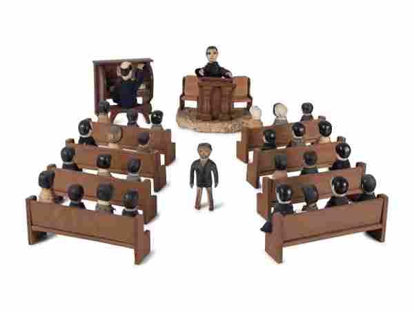A Carved Wood Folk Art Church Toy Set