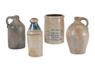 Three Stoneware Jugs and One Crock