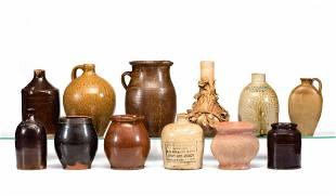 Twelve Stoneware, Redware and Earthenware Jugs,