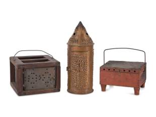 A Punched Tin Lantern And Two Foot Warmers