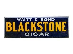 A Waitt and Bond Blackstone Cigar Tin Advertising Sign