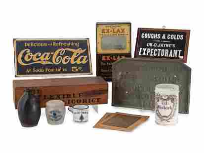 A Group of Eleven Advertising Plaques, Boxes, Jars and
