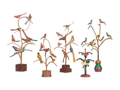 Five Carved and Painted Wood Folk Art Bird Trees