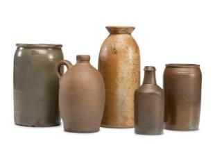 Five Early Cincinnati Stoneware Jugs and Jars