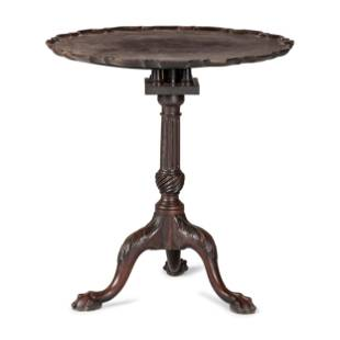 A Chippendale Carved and Figured Mahogany Pie-Crust
