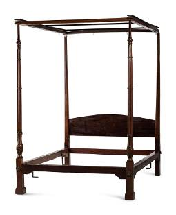 A Chippendale Carved Mahogany Four-Post Tester Bedstead