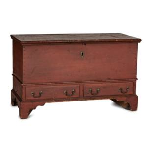 A Chippendale Red-Painted Pine Two-Drawer Blanket Chest