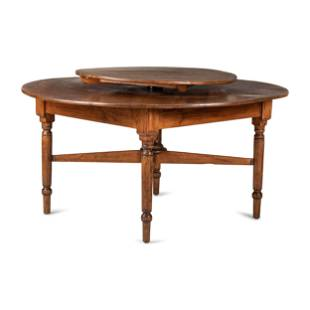 A Country Yellow Pine Lazy-Susan Two-Tier Dining Table