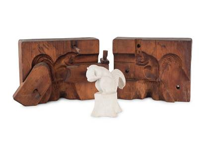 A Two-Part Carved Pine Squirrel Form Butter Mold