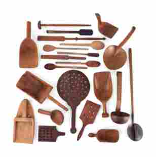 A Group of Wood Grain Scoops, Spoons and Other Utensils