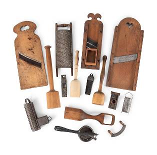 A Group of Wood and Tin Graters, Slicers and Pounders