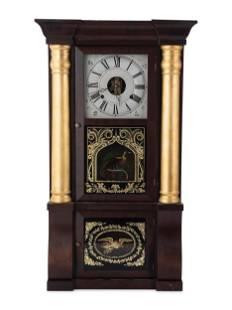 A Seth Thomas Empire Mahogany and Giltwood Shelf Clock