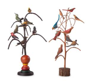Two Folk Art Carved and Painted Wood Bird Trees