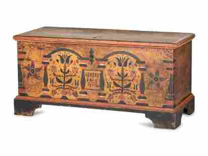 A Chippendale Grain and Polychrome Paint Decorated Pine