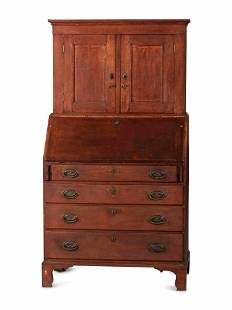 A Federal Red-Painted Maple or Cherrywood Desk-and