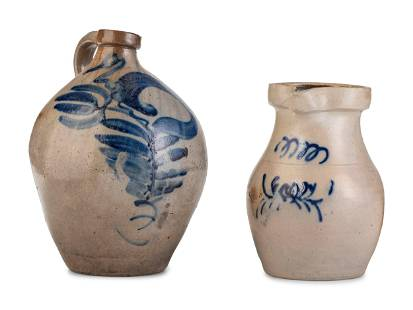 A Cobalt Decorated Stoneware Pitcher and Jug