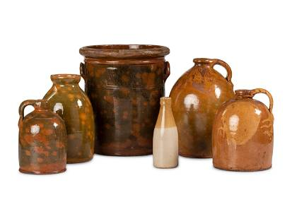 Six Galena Glaze Stoneware Crocks