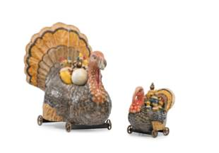Two Turkey Form Pull Toys, Each With 9 Pin Game