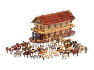 A Noah's Ark Painted Wood Pull Toy